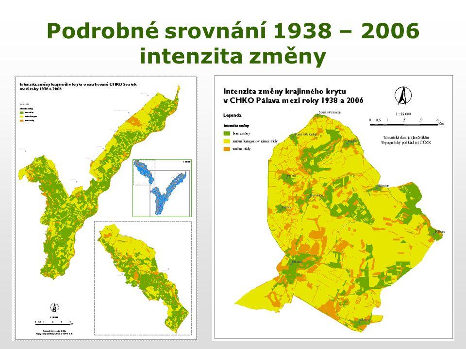Podrobné srovnání 1938 – 2006 intenzita změny