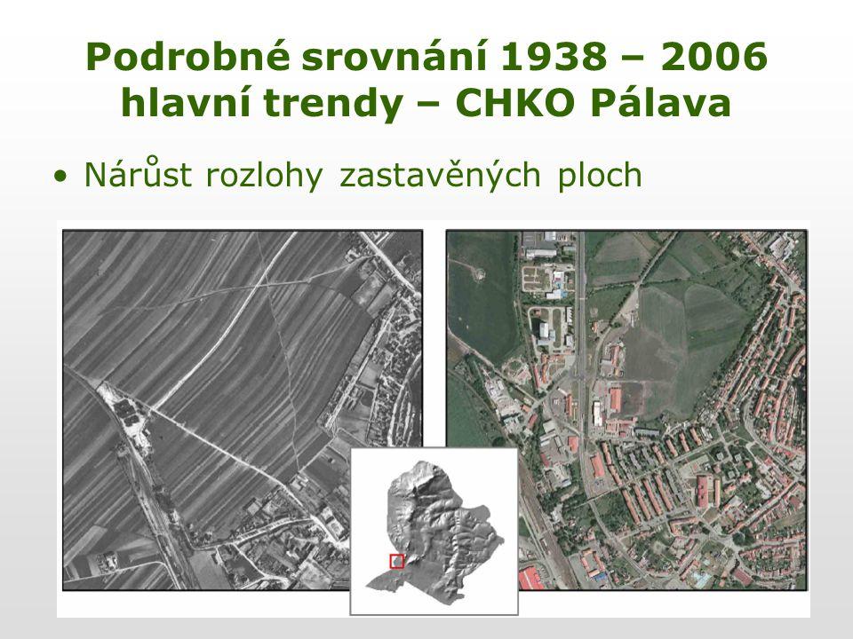 Podrobné srovnání 1938 – 2006 hlavní trendy – CHKO Pálava