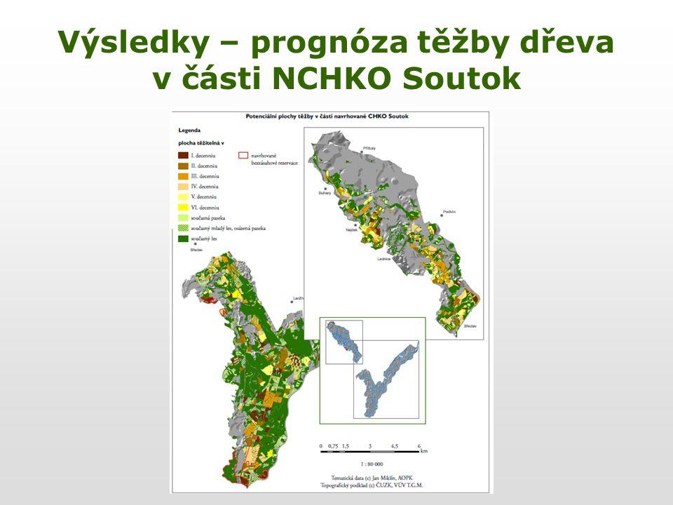 Výsledky – prognóza těžby dřeva v části NCHKO Soutok