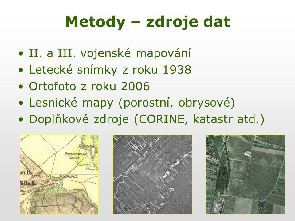 Metody – zdroje dat II. a III. vojenské mapování
