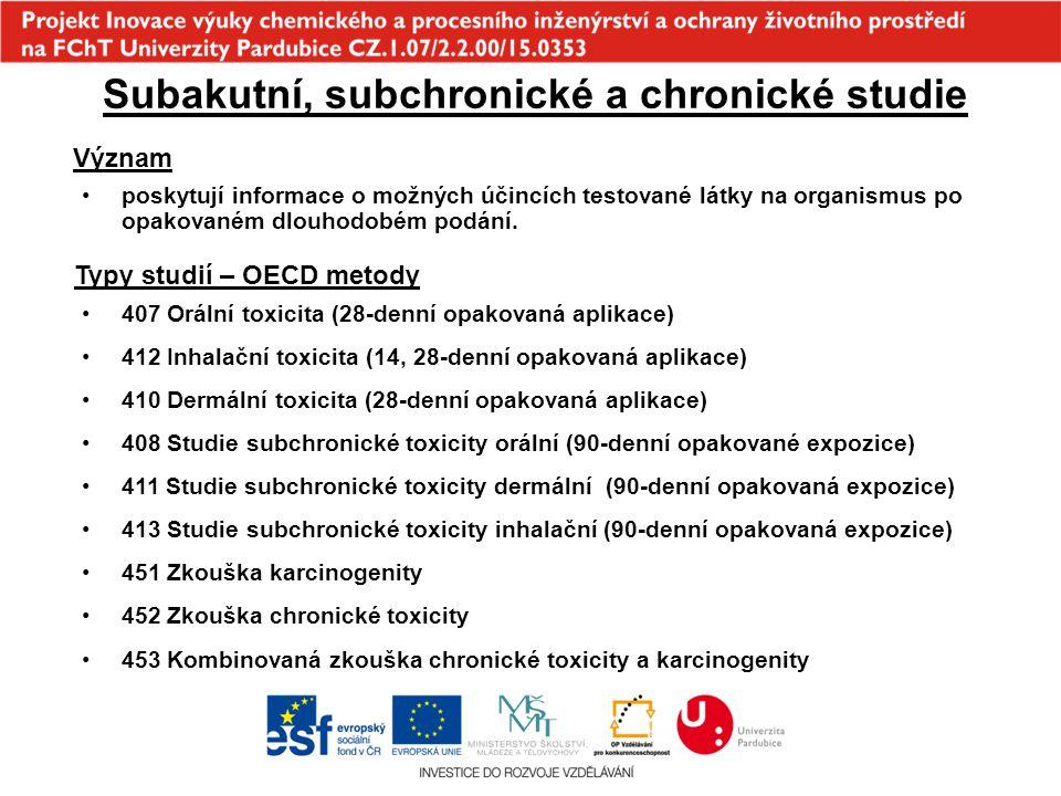 Subakutní, subchronické a chronické studie