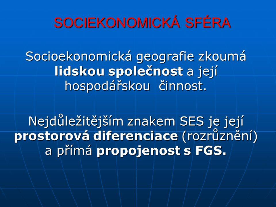 SOCIEKONOMICKÁ SFÉRA Socioekonomická geografie zkoumá lidskou společnost a její hospodářskou činnost.