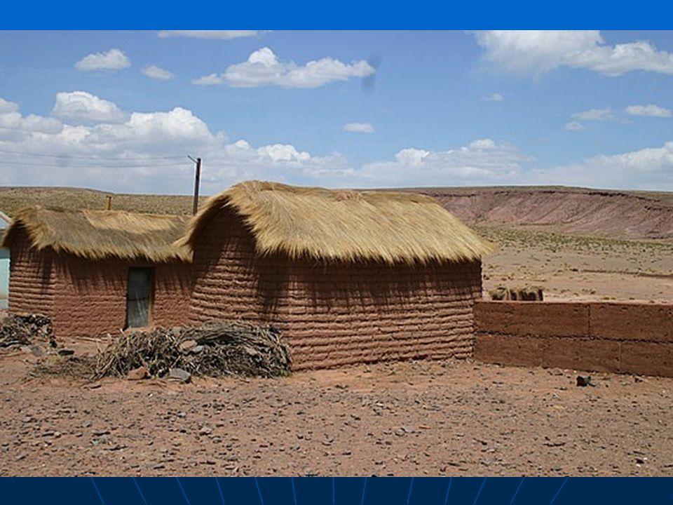 Horské sídlo Uyuni. Obidlí z nepálených cihel z Atliplana v J.Americe