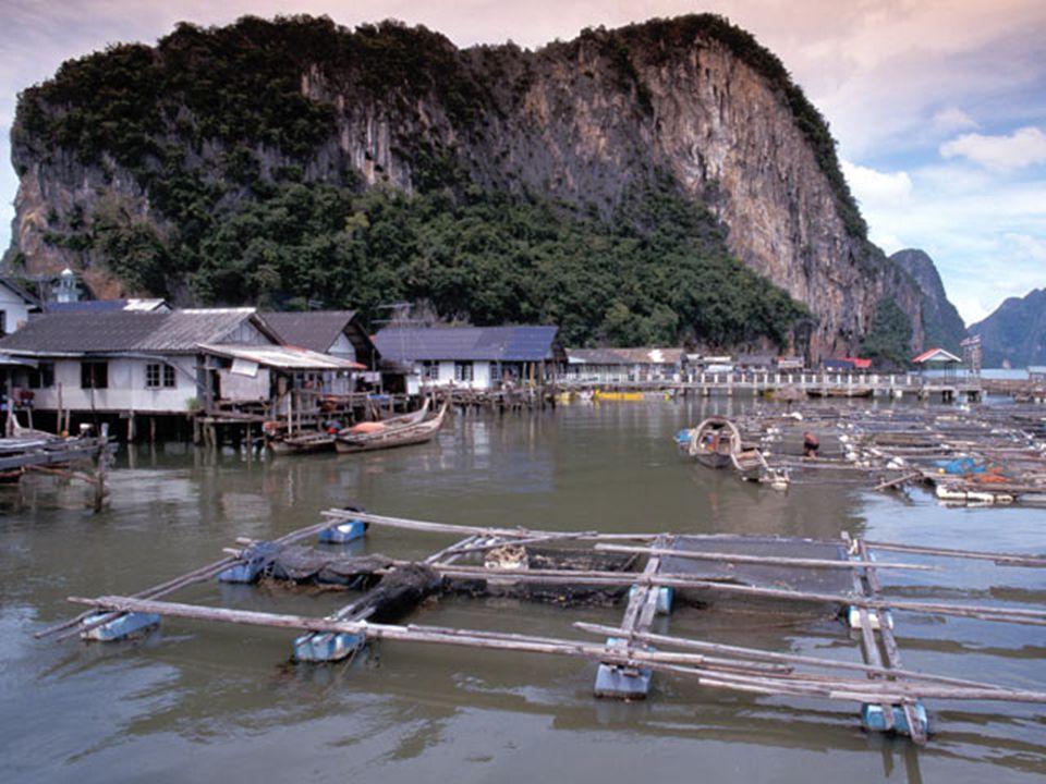 Rybářská vesnice v Thajsku.