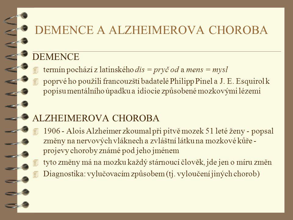 DEMENCE A ALZHEIMEROVA CHOROBA