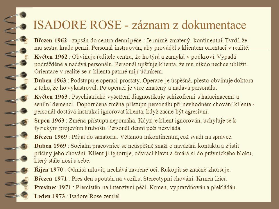ISADORE ROSE - záznam z dokumentace