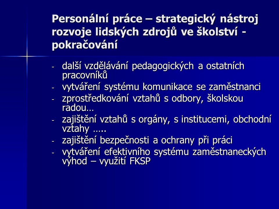 Personální práce – strategický nástroj rozvoje lidských zdrojů ve školství - pokračování