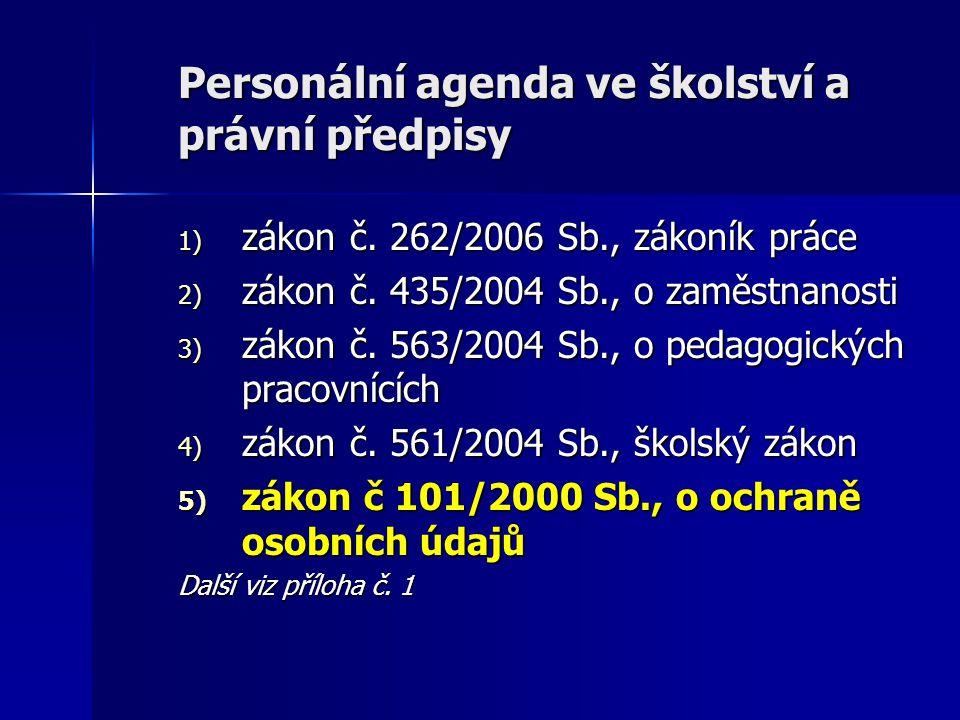 Personální agenda ve školství a právní předpisy