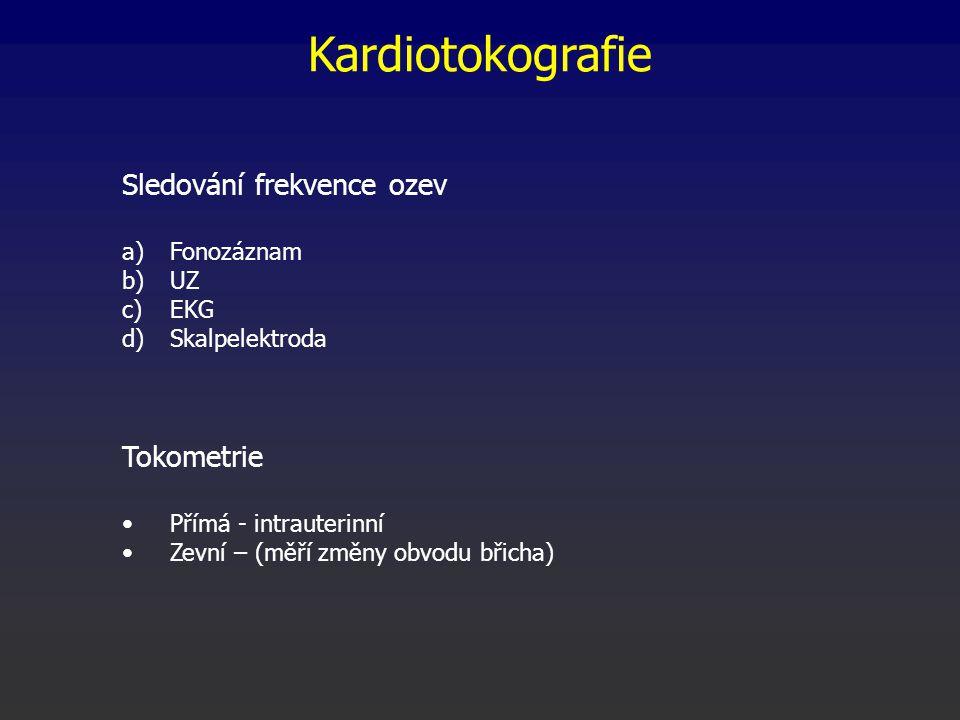 Kardiotokografie Sledování frekvence ozev Tokometrie Fonozáznam UZ EKG