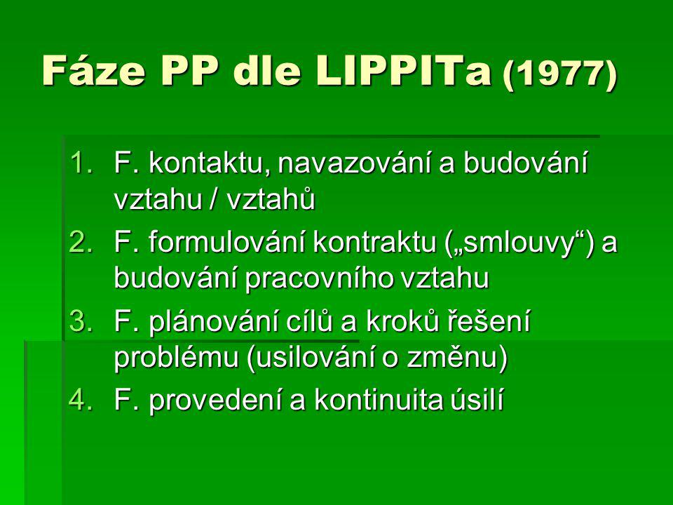 """Fáze PP dle LIPPITa (1977) F. kontaktu, navazování a budování vztahu / vztahů. F. formulování kontraktu (""""smlouvy ) a budování pracovního vztahu."""