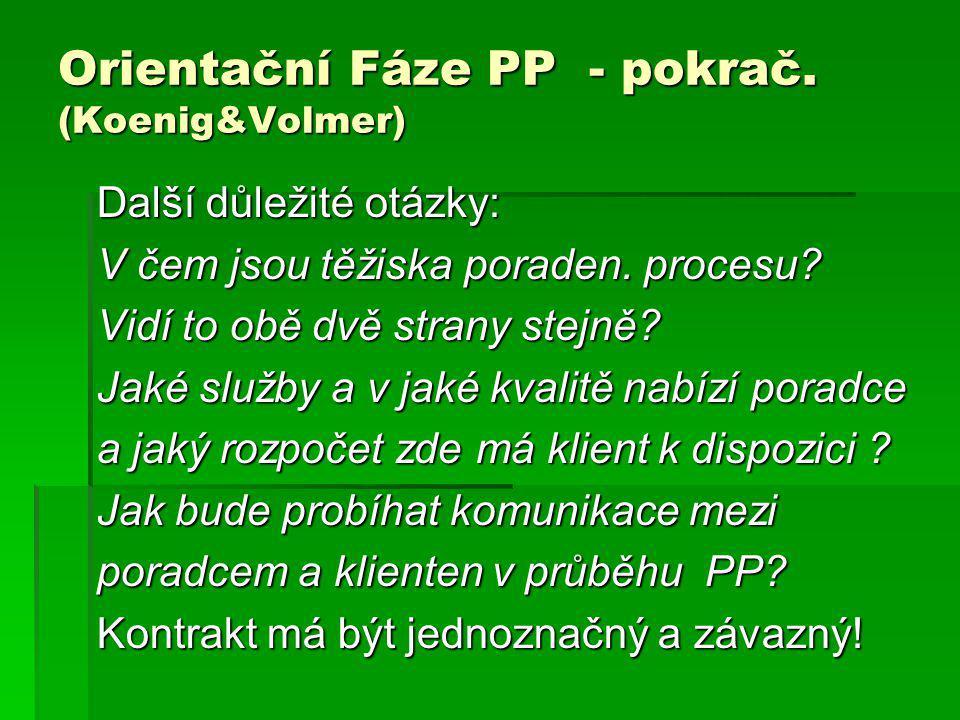 Orientační Fáze PP - pokrač. (Koenig&Volmer)