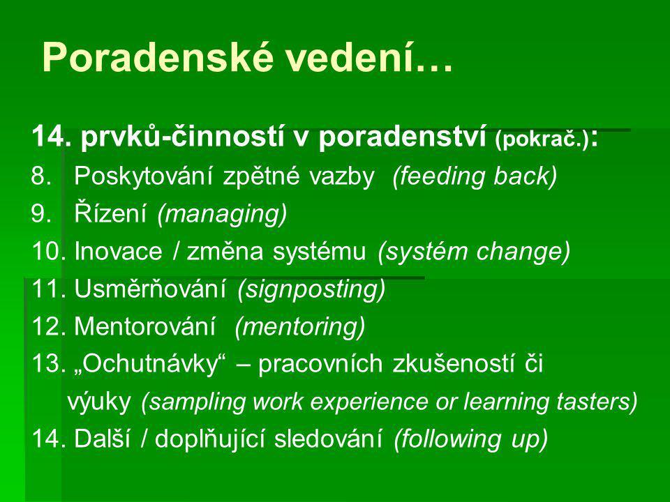 Poradenské vedení… 14. prvků-činností v poradenství (pokrač.):