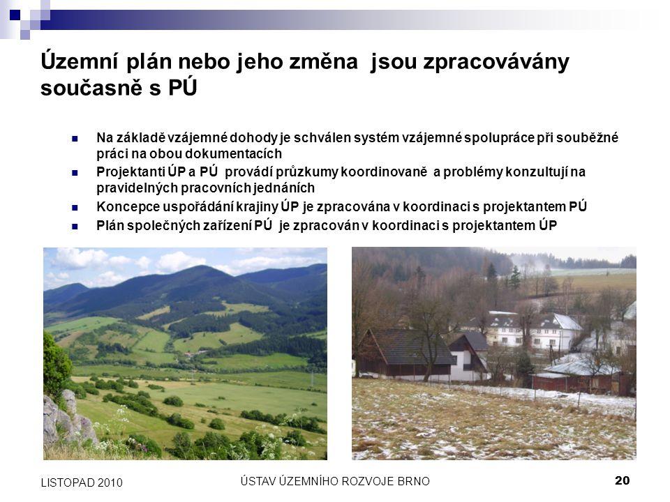 Územní plán nebo jeho změna jsou zpracovávány současně s PÚ