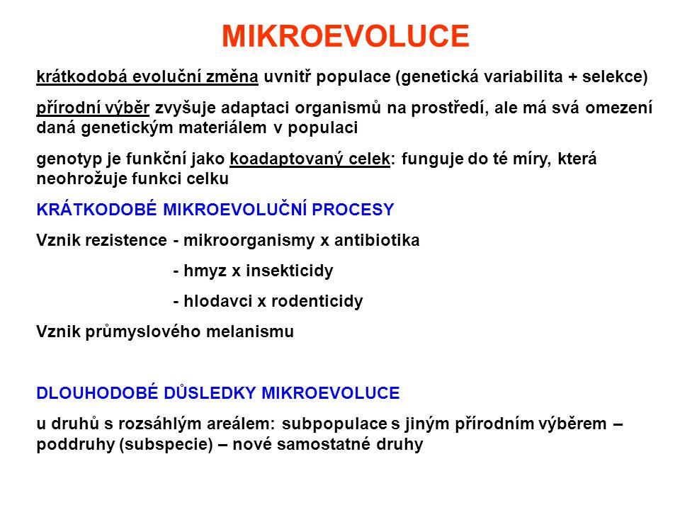 MIKROEVOLUCE krátkodobá evoluční změna uvnitř populace (genetická variabilita + selekce)