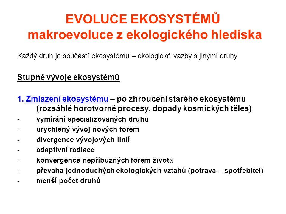 EVOLUCE EKOSYSTÉMŮ makroevoluce z ekologického hlediska