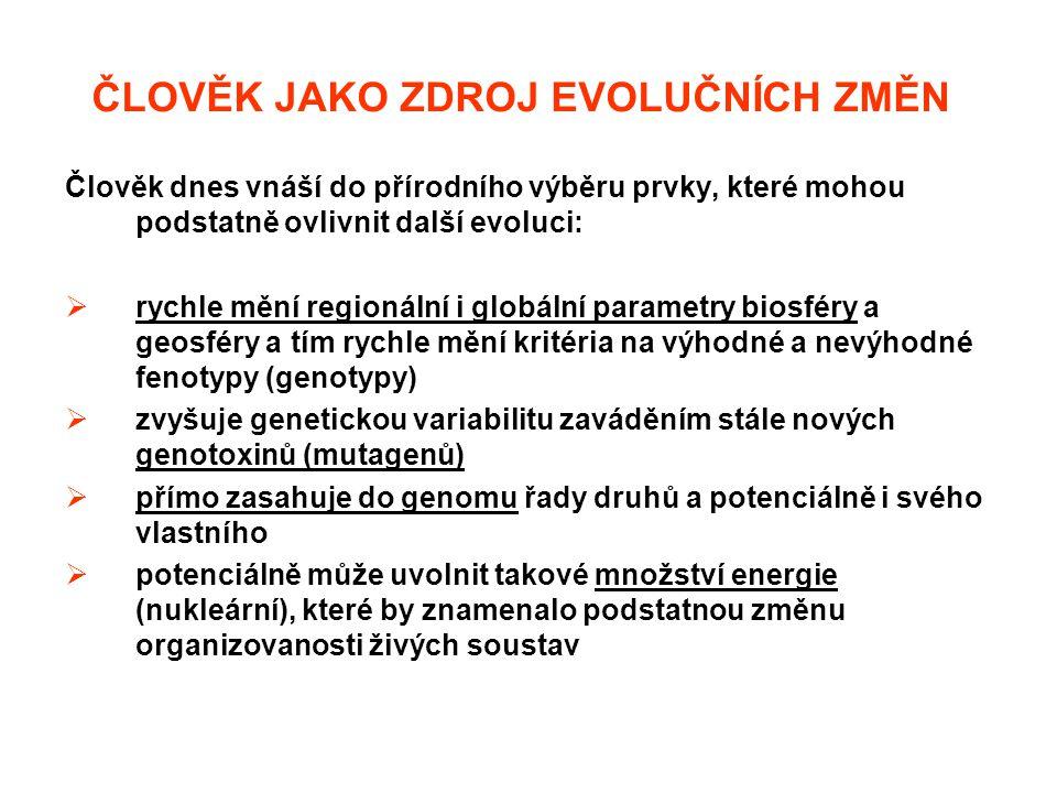 ČLOVĚK JAKO ZDROJ EVOLUČNÍCH ZMĚN