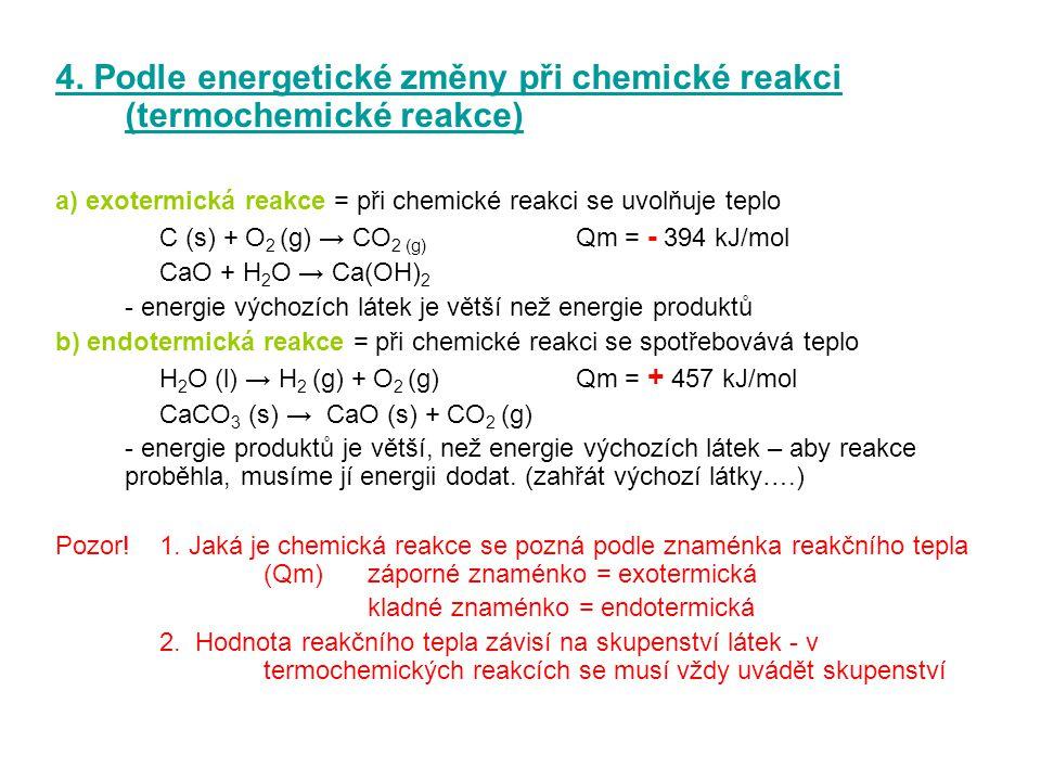 4. Podle energetické změny při chemické reakci (termochemické reakce)
