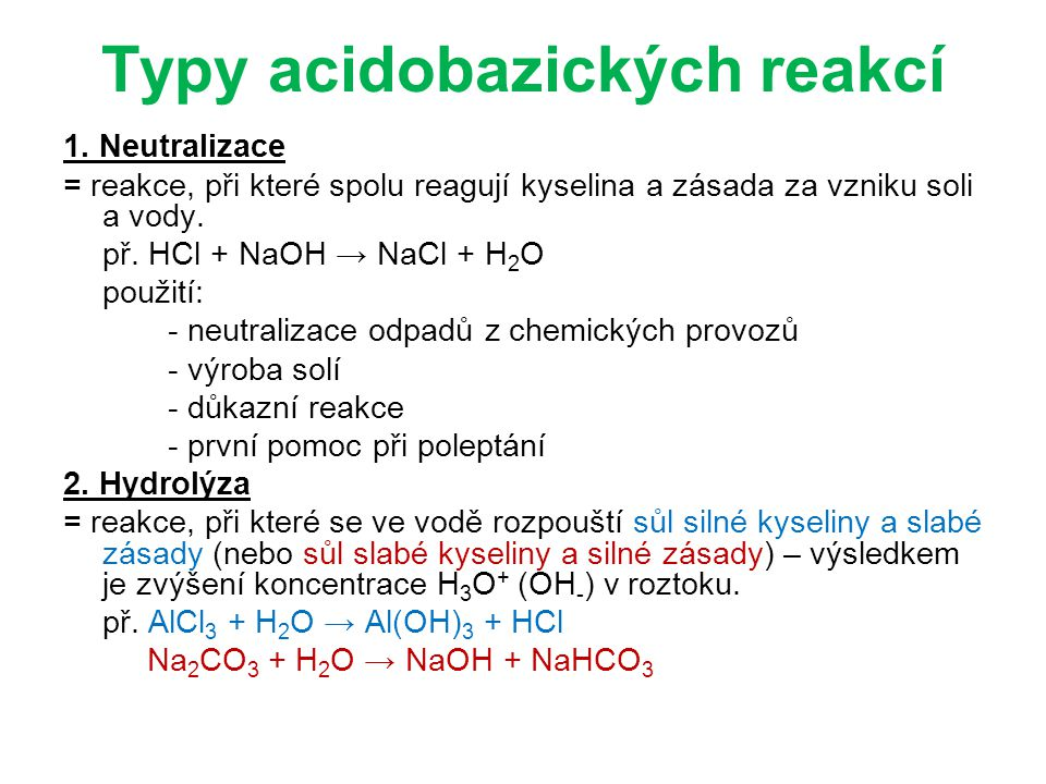 Typy acidobazických reakcí