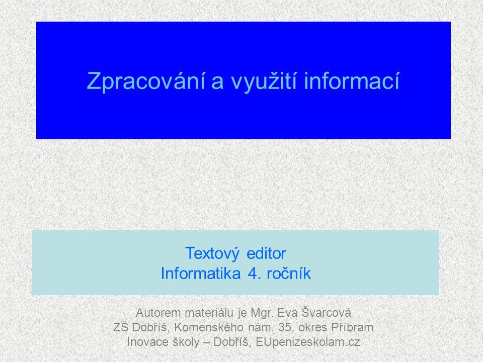 Zpracování a využití informací