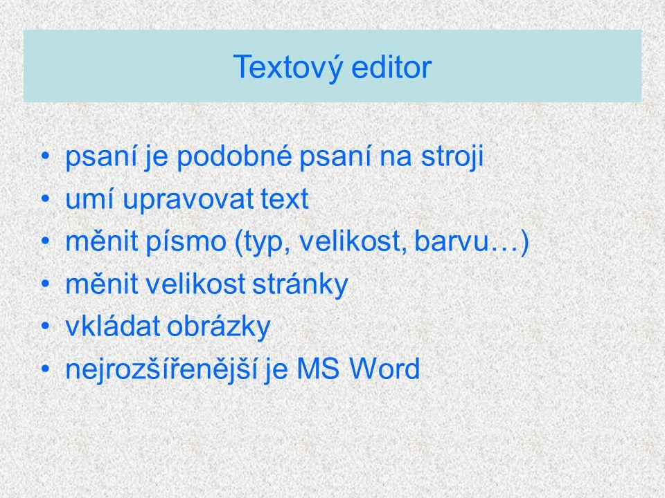 Textový editor psaní je podobné psaní na stroji umí upravovat text