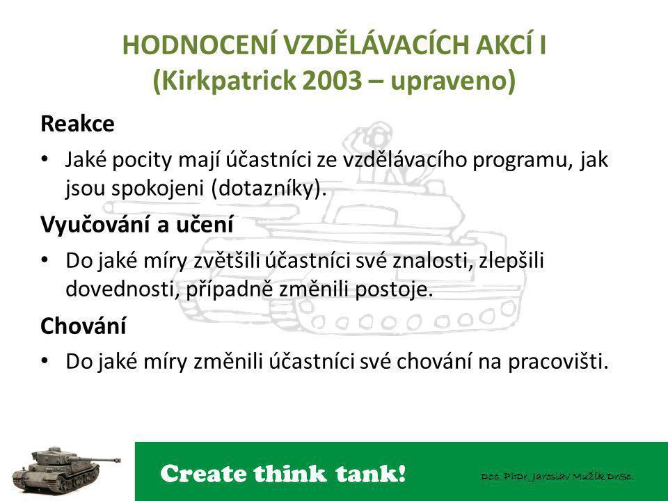 HODNOCENÍ VZDĚLÁVACÍCH AKCÍ I (Kirkpatrick 2003 – upraveno)