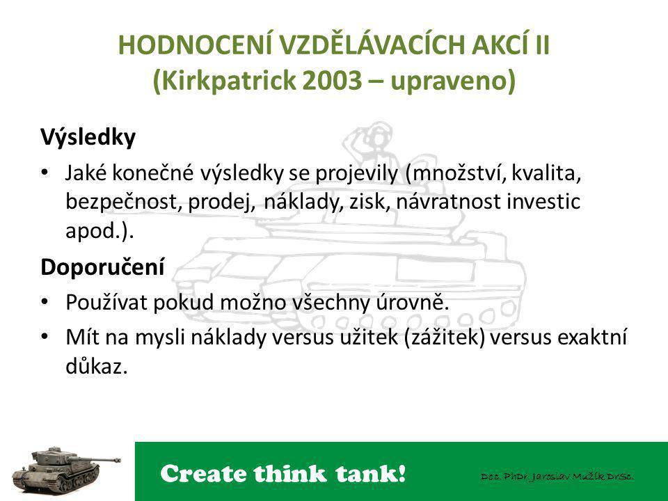 HODNOCENÍ VZDĚLÁVACÍCH AKCÍ II (Kirkpatrick 2003 – upraveno)
