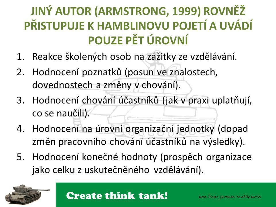 JINÝ AUTOR (ARMSTRONG, 1999) ROVNĚŽ PŘISTUPUJE K HAMBLINOVU POJETÍ A UVÁDÍ POUZE PĚT ÚROVNÍ