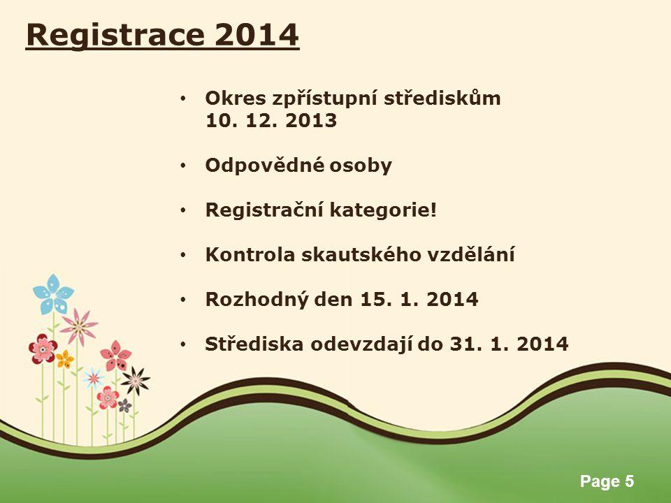 Registrace 2014 Okres zpřístupní střediskům 10. 12. 2013