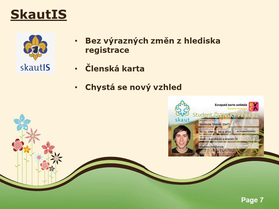 SkautIS Bez výrazných změn z hlediska registrace Členská karta
