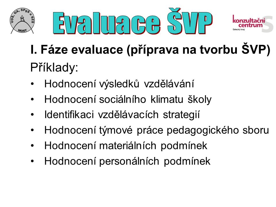 Příklady: Evaluace ŠVP Hodnocení výsledků vzdělávání