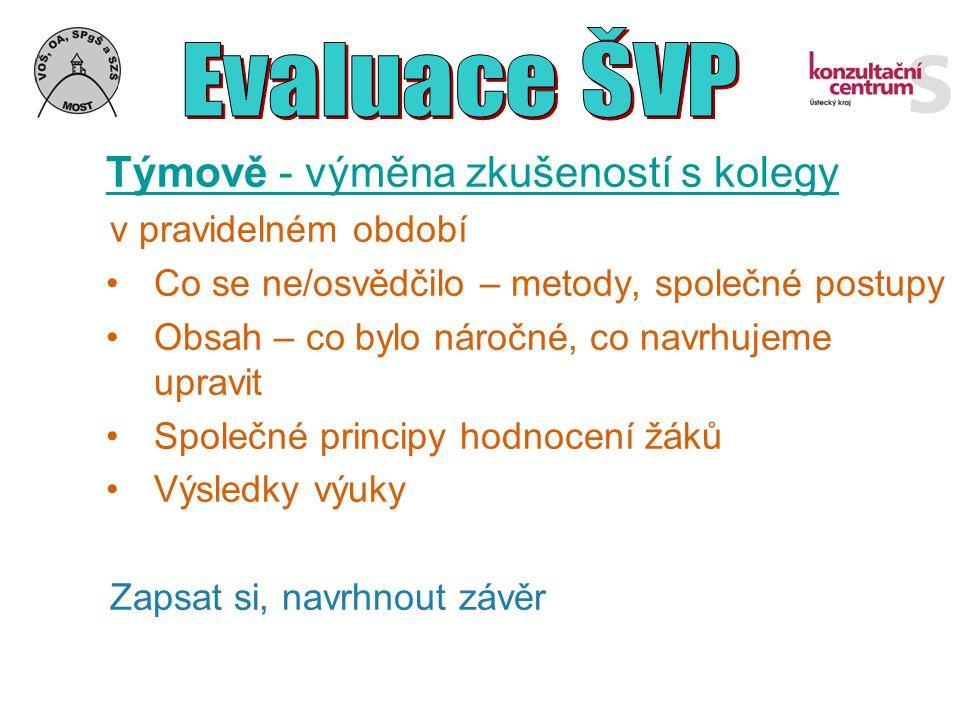 Evaluace ŠVP Týmově - výměna zkušeností s kolegy. v pravidelném období. Co se ne/osvědčilo – metody, společné postupy.