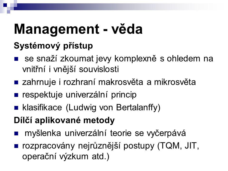 Management - věda Systémový přístup