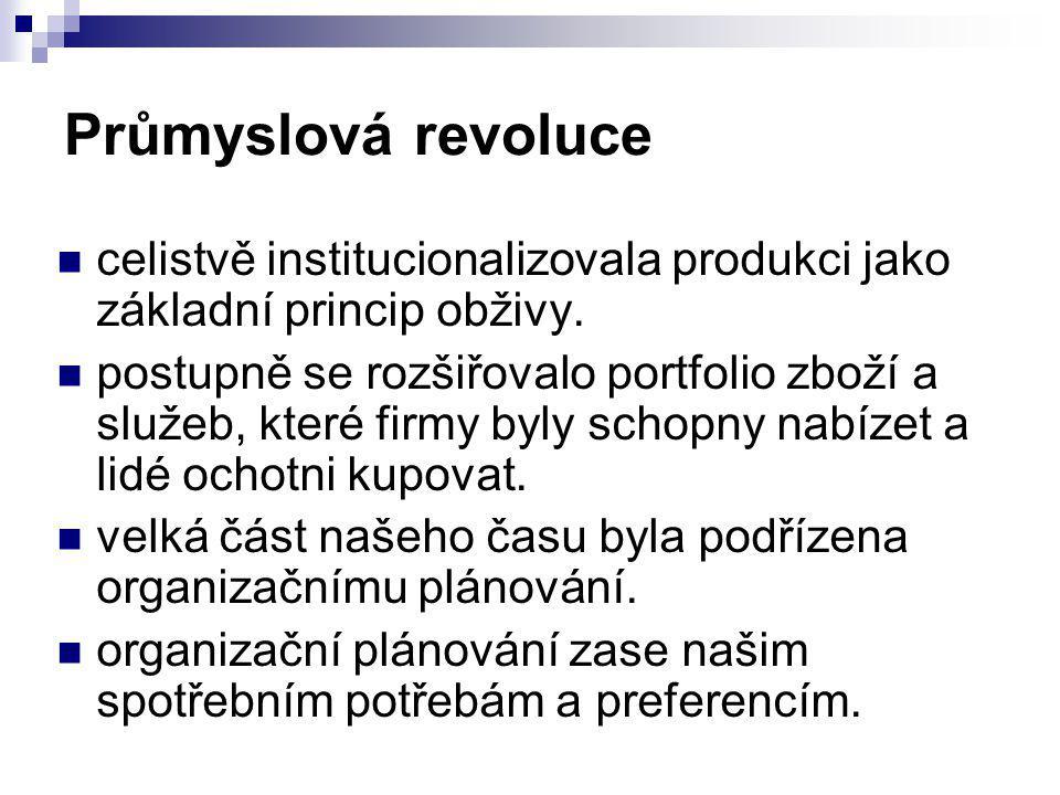 Průmyslová revoluce celistvě institucionalizovala produkci jako základní princip obživy.