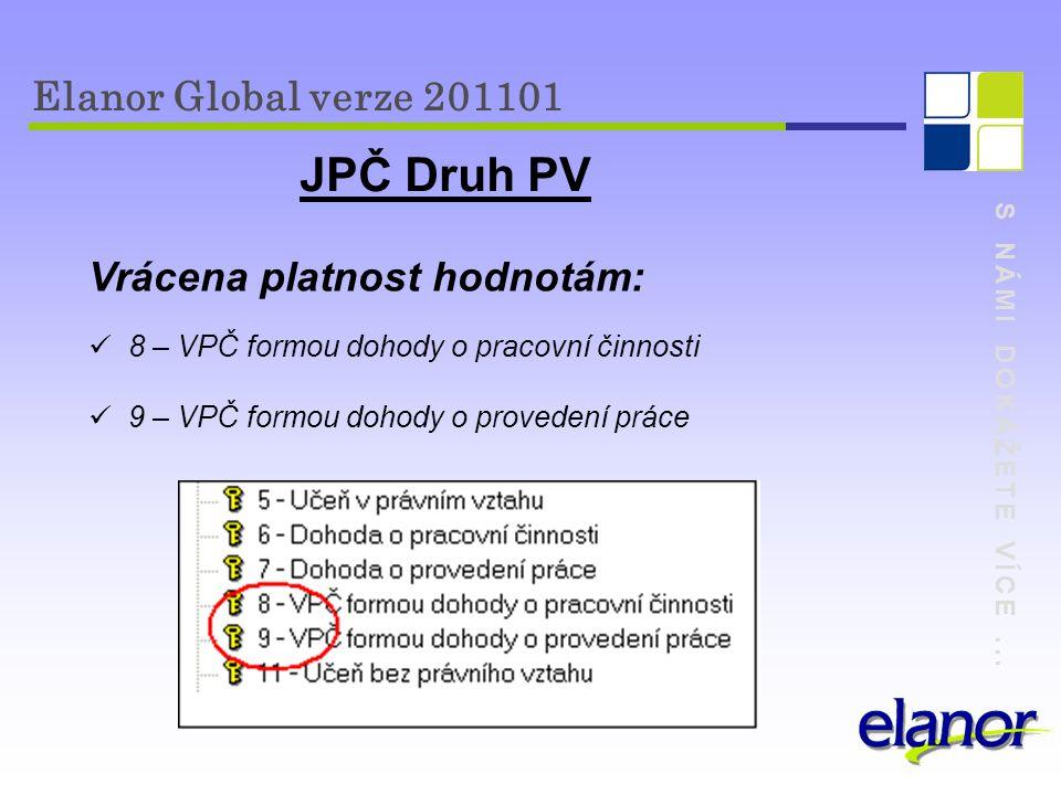JPČ Druh PV Elanor Global verze 201101 Vrácena platnost hodnotám: