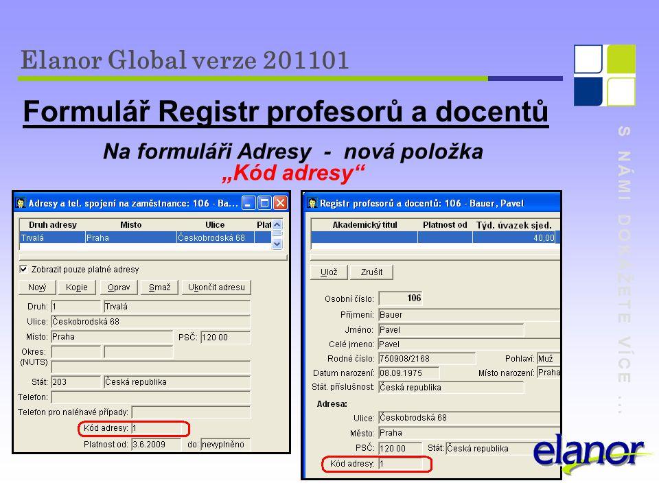 Formulář Registr profesorů a docentů