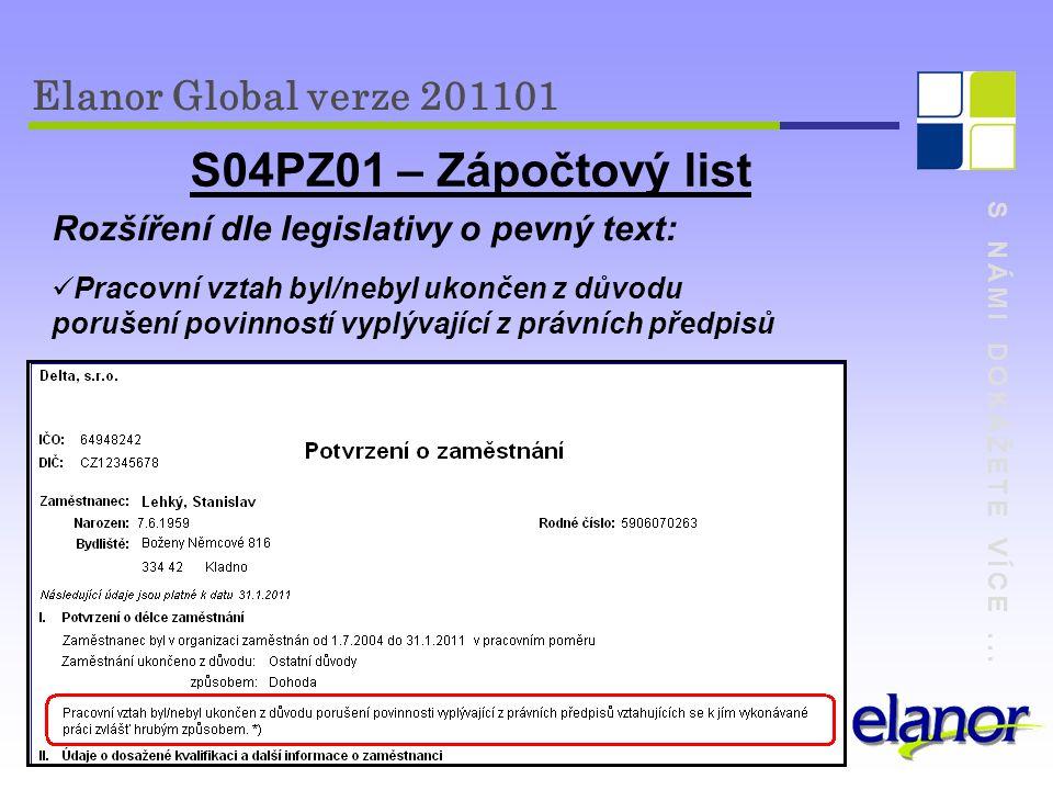 S04PZ01 – Zápočtový list Elanor Global verze 201101