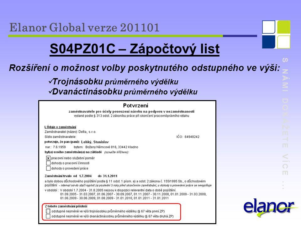 S04PZ01C – Zápočtový list Elanor Global verze 201101