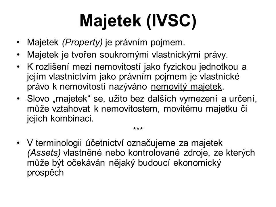 Majetek (IVSC) Majetek (Property) je právním pojmem.