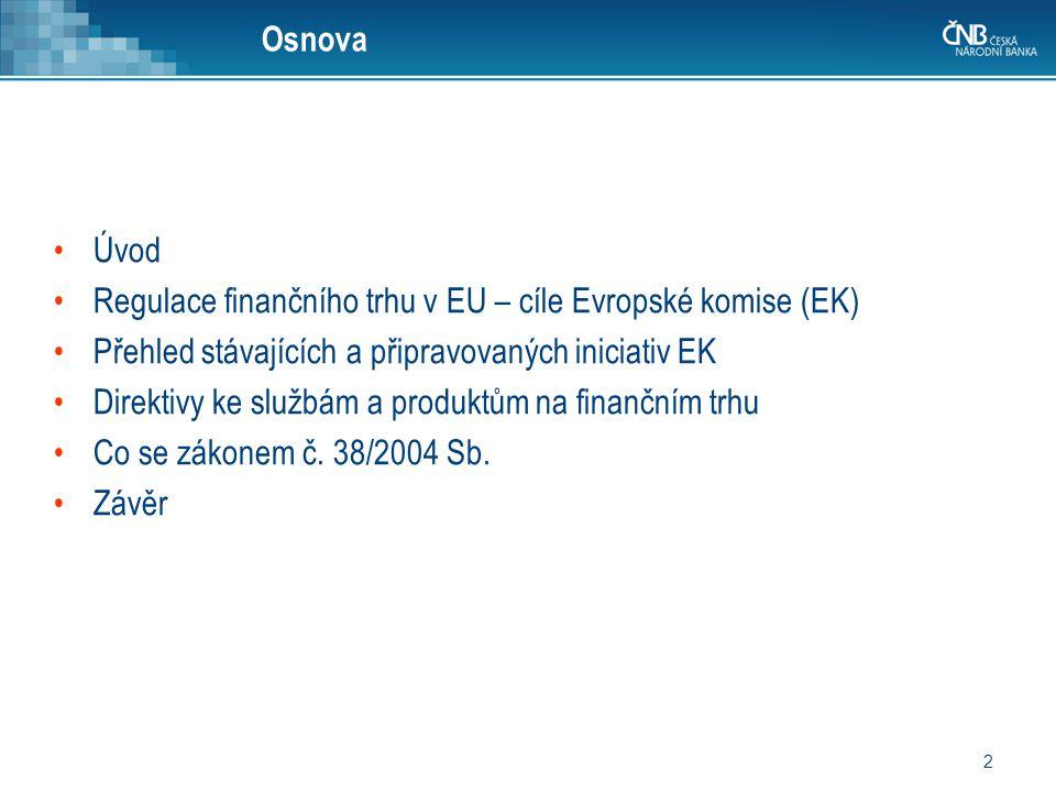 Osnova Úvod. Regulace finančního trhu v EU – cíle Evropské komise (EK) Přehled stávajících a připravovaných iniciativ EK.