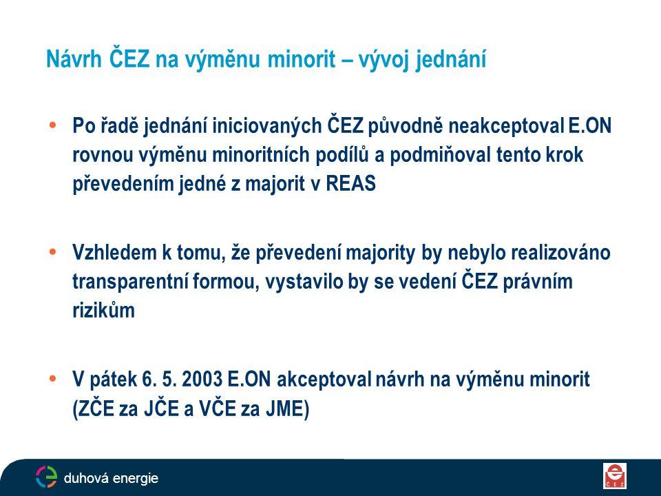 Návrh ČEZ na výměnu minorit – vývoj jednání