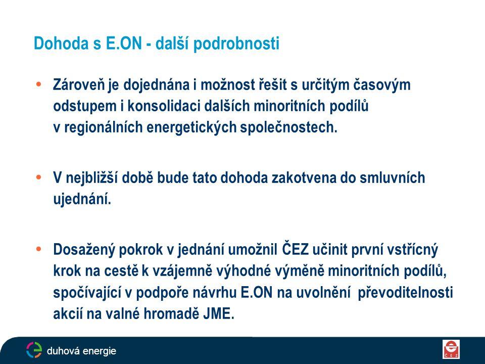 Dohoda s E.ON - další podrobnosti