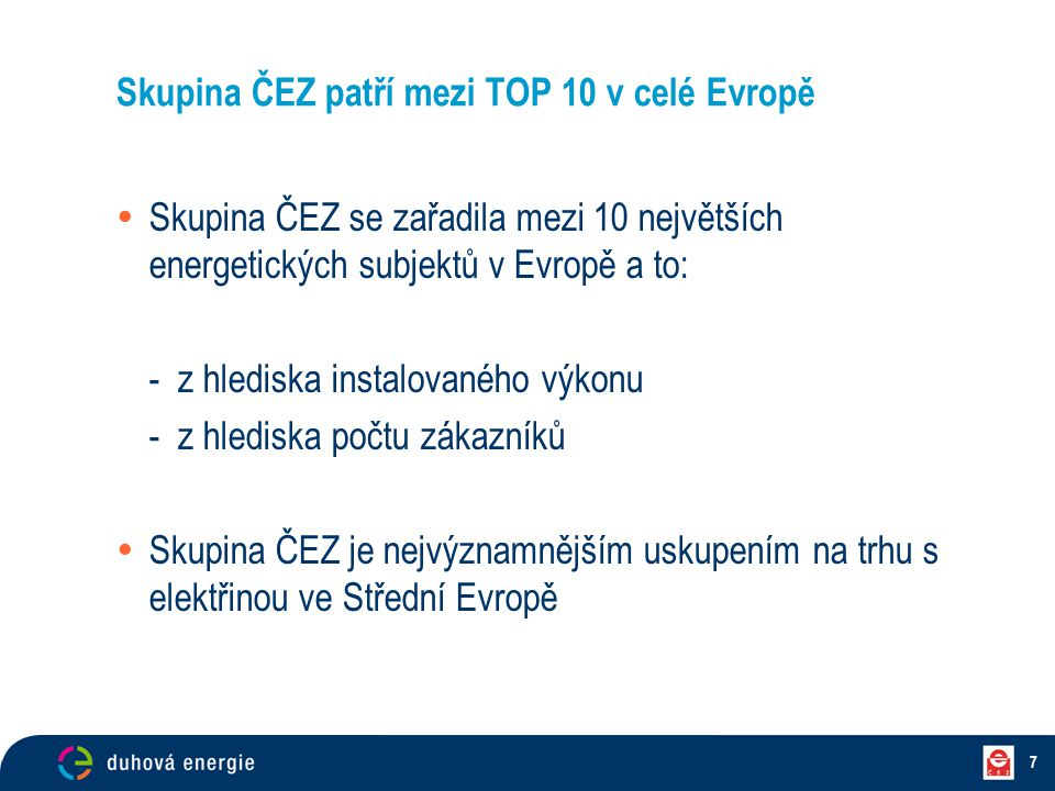 Skupina ČEZ patří mezi TOP 10 v celé Evropě