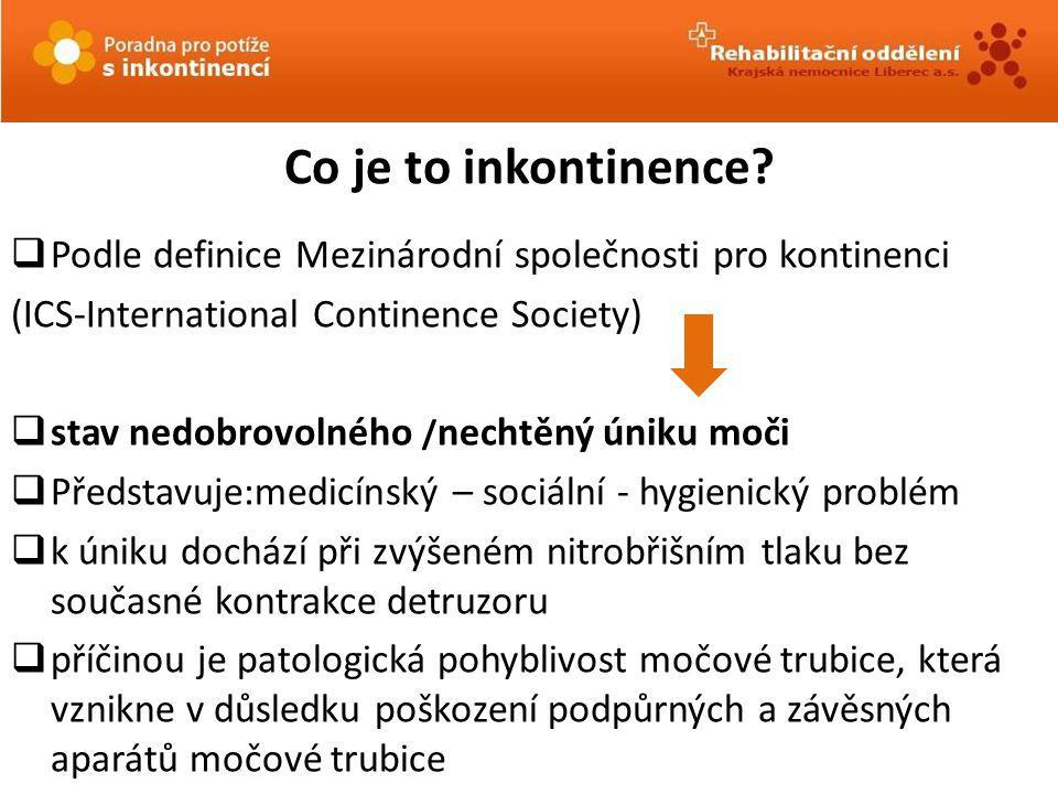 Co je to inkontinence Podle definice Mezinárodní společnosti pro kontinenci. (ICS-International Continence Society)