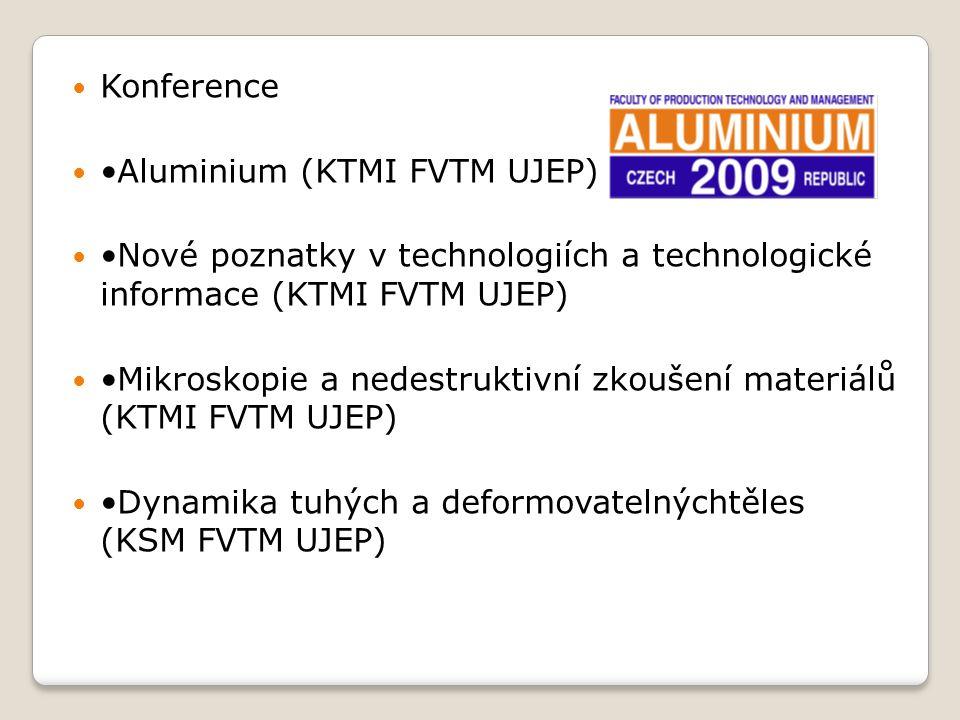 Konference •Aluminium (KTMI FVTM UJEP) •Nové poznatky v technologiích a technologické informace (KTMI FVTM UJEP)