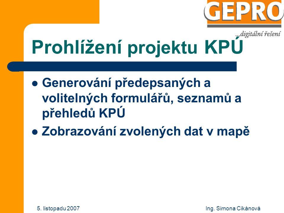 Prohlížení projektu KPÚ