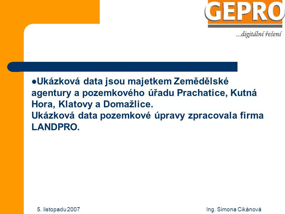 Ukázková data jsou majetkem Zemědělské agentury a pozemkového úřadu Prachatice, Kutná Hora, Klatovy a Domažlice. Ukázková data pozemkové úpravy zpracovala firma LANDPRO.