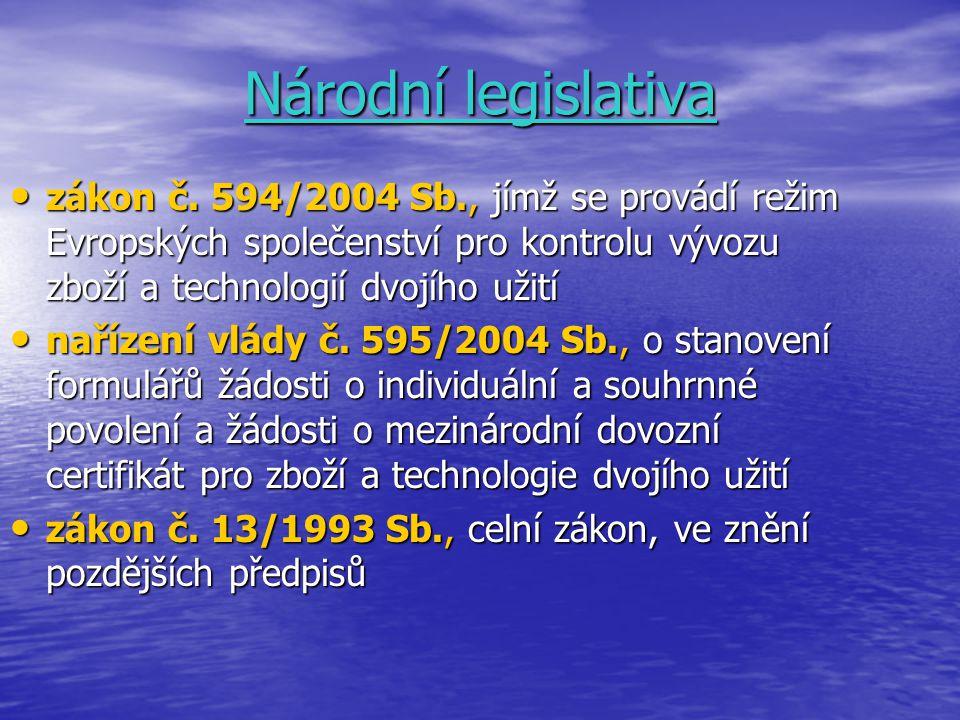 Národní legislativa zákon č. 594/2004 Sb., jímž se provádí režim Evropských společenství pro kontrolu vývozu zboží a technologií dvojího užití.