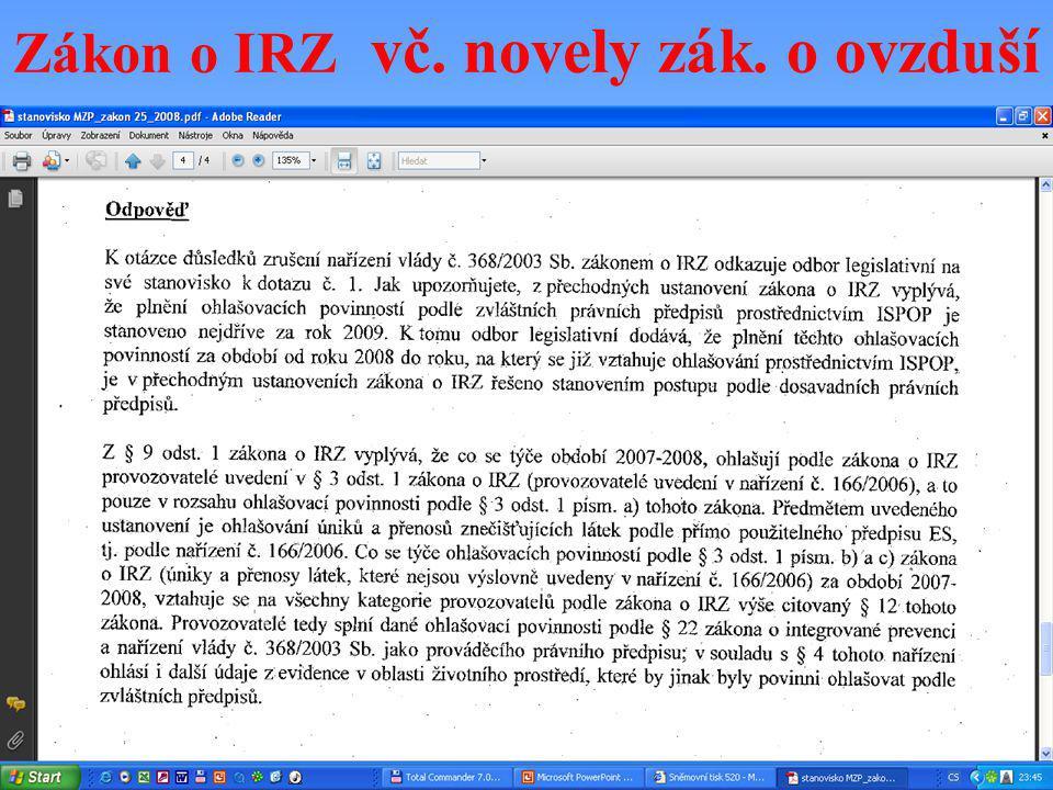 Zákon o IRZ vč. novely zák. o ovzduší
