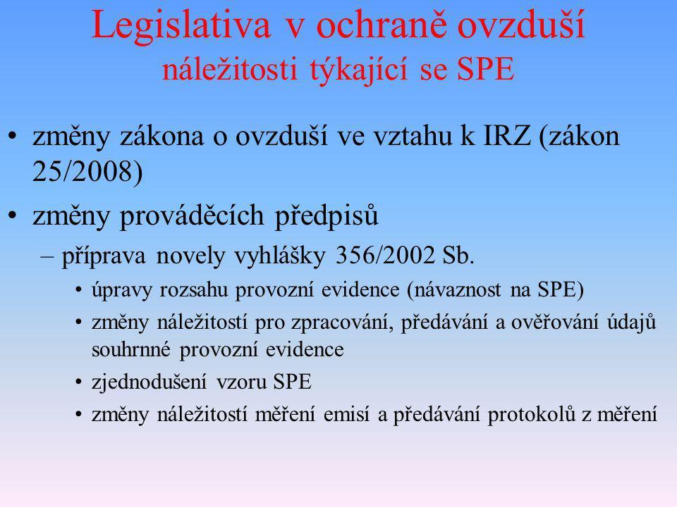 Legislativa v ochraně ovzduší náležitosti týkající se SPE