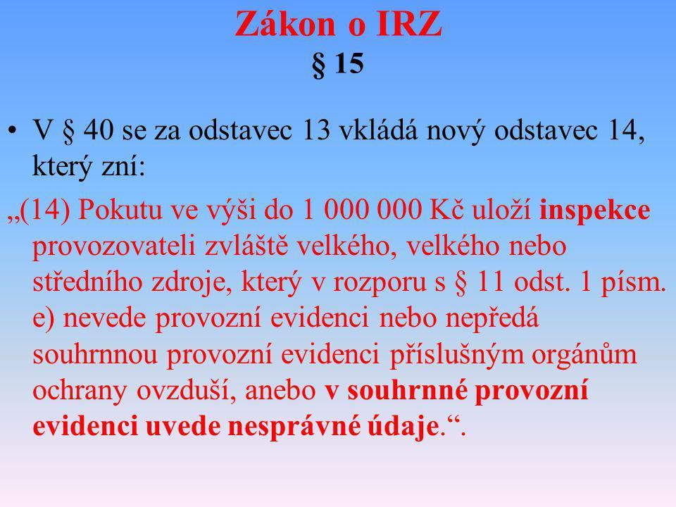 Zákon o IRZ § 15 V § 40 se za odstavec 13 vkládá nový odstavec 14, který zní: